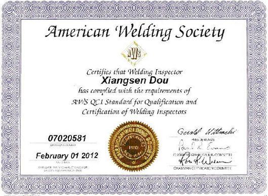AWS welding inspector certificate-Shandong Shengyue Petrochemical ...